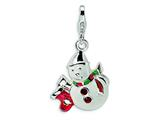 Amore LaVita™ Sterling Silver Enameled Swarovski Crystal Snowman w/Lobster Clasp Bracelet Charm style: QCC543