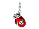 Amore LaVita™ Sterling Silver 3-D Enameled Red Mitten w/Lobster Clasp Charm for Charm Bracelet