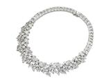 Cheryl M™ Sterling Silver CZ Fancy 15in Collar Necklace style: QCM102