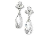 Cheryl M Sterling Silver Teardrop Dangle CZ Post Earrings