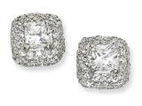Cheryl M™ Sterling Silver Asscher-cut Square CZ Post Earrings style: QCM107