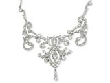 Cheryl M™ Sterling Silver CZ Fancy Scroll 17in w/2in ext Necklace