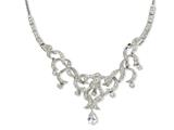 Cheryl M Sterling Silver Scrolled 17in w/2in Ext CZ Necklace