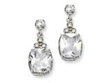 Cheryl M Sterling Silver CZ Dangle Post Earrings