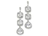 Cheryl M™ Sterling Silver Rose-cut CZ Dangle Post Earrings style: QCM117