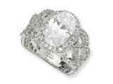 Cheryl M Sterling Silver Fancy Oval CZ Ring