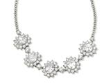 Cheryl M Sterling Silver Oval CZ 17in w/2in Ext Necklace