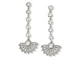 Cheryl M Rhodium-plated Sterling Silver CZ Fan Dangle Post Earrings