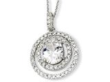 Cheryl M™ Sterling Silver Circle CZ 18in Necklace style: QCM123