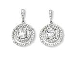 Cheryl M Sterling Silver Circle CZ Dangle Post Earrings