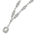 Cheryl M™ Sterling Silver Oval CZ Y-drop 17in Necklace style: QCM126
