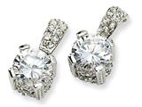 Cheryl M™ Sterling Silver 8mm CZ Post Earrings style: QCM135
