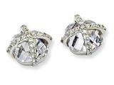 Cheryl M Sterling Silver Checker-cut Round CZ Post Earrings
