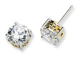 Cheryl M Sterling Silver and Gold Plated 8mm X and O CZ Stud Earrings