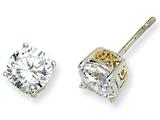 Cheryl M Sterling Silver and Gold Plated 6.5mm X and O CZ Stud Earrings