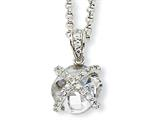 Cheryl M Sterling Silver Checker-cut Round CZ 18in Necklace