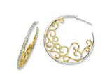 Cheryl M™ Sterling Silver and Gold Plated Scrolled CZ Hoop Earrings