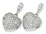 Cheryl M Sterling Silver CZ Heart Dangle Post Earrings