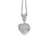 Cheryl M™ Sterling Silver CZ Heart 18in Necklace style: QCM147