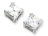 Cheryl M Sterling Silver 8mm Asscher-cut CZ Stud Earrings