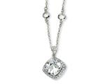 Cheryl M Sterling Silver Rose-cut CZ Square 18in Necklace