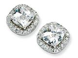Cheryl M™ Sterling Silver Rose-cut CZ Square Post Earrings style: QCM158