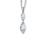 Cheryl M™ Sterling Silver Marquise CZ 17in w/2in ext Double Strand Necklace