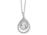 Cheryl M™ Sterling Silver Pear CZ 18in Necklace style: QCM169