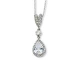 Cheryl M™ Sterling Silver Pear CZ 18in Necklace style: QCM172