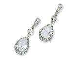 Cheryl M™ Sterling Silver Pear CZ Dangle Post Earrings style: QCM173