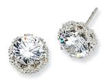 Cheryl M™ Sterling Silver Round CZ Post Earrings