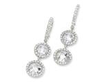 Cheryl M™ Sterling Silver Checker-cut CZ 2-stone French Wire Earrings