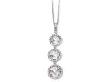 Cheryl M™ Sterling Silver Checker-cut CZ 3-stone 18in Necklace style: QCM180
