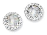 Cheryl M™ Sterling Silver Checker-cut CZ Round Post Earrings