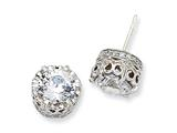 Cheryl M™ Sterling Silver 100-facet CZ Round Post Earrings