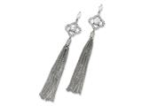 Cheryl M Sterling Silver CZ Dangle Chain Post Earrings