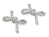 Cheryl M Sterling Silver CZ Bow Post Earrings
