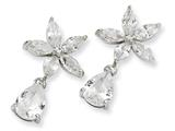 Cheryl M Sterling Silver Pear CZ Floral Dangle Post Earrings