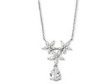 Cheryl M Sterling Silver CZ Floral 18in Necklace