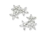 Cheryl M Sterling Silver CZ Three Flower Post Earrings