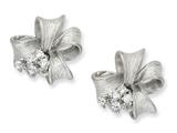 Cheryl M Sterling Silver Satin Finish Bow CZ Post Earrings