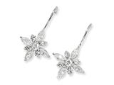 Cheryl M™ Sterling Silver CZ Floral Wire Earrings