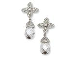 Cheryl M Sterling Silver Teardrop CZ Dangle Post Earrings