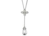 Cheryl M Sterling Silver Teardrop CZ 17in w/2in ext Y-drop Necklace