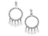 Cheryl M Sterling Silver CZ Circle Post Dangle Earrings