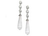 Cheryl M™ Sterling Silver CZ Faceted Teardrop Dangle Post Earrings