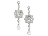 Cheryl M™ Sterling Silver CZ Dangle Post Earrings style: QCM212