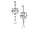 Cheryl M™ Sterling Silver CZ Dangle Post Earrings style: QCM212