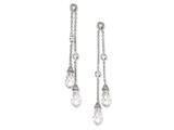 Cheryl M Sterling Silver CZ Chain Dangle Post Earrings