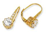 Cheryl M Gold Plated Sterling Silver CZ Leverback Earrings